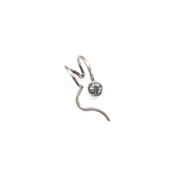 Right ear silver ear cuff stoneset with high quality white sapphire