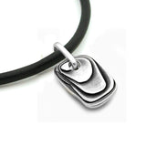 stylish solid silver mens designer pendant dog tag alternative