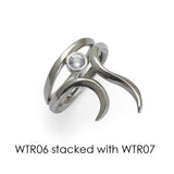 Annika Rutlin designer Goddess Tara silver and white sapphire stacking rings