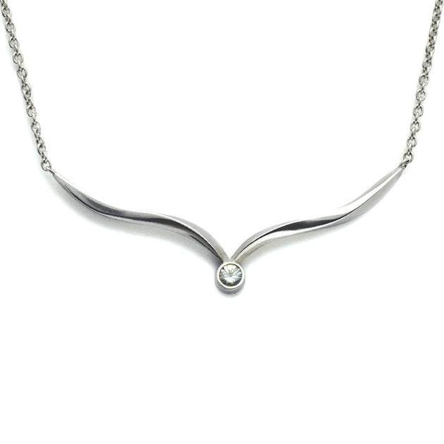 Annika Rutlin Focus sterling silver and white sapphire wishbone necklace