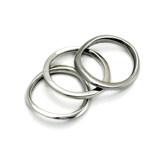 set of 3 sculptural stacking rings in sterling silver by scandi designer Annika Rutlin