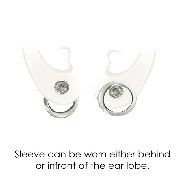 image showing Annika Rutlin sapphire stud and jacket earrings on ear