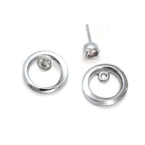 Annika Rutlin silver circle sleeve with detachable white sapphire stud earrings