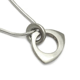 solid triangle shaped silver pendant for men on snake chain jeweller Annika Rutlin