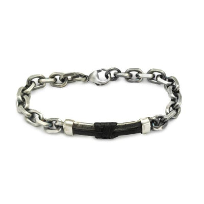 Heavyweight mens silver chain & leather bracelet jewellery