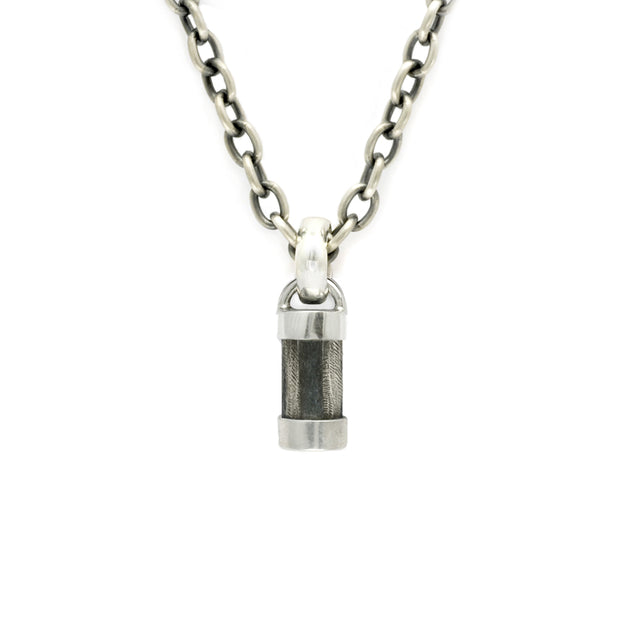 gents solid silver & leather pendant by designer Annika Rutlin. Ideal mens jewellery