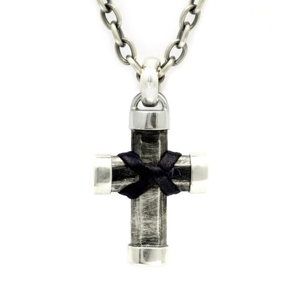 Alternative mens heavy silver cross chain leather knot