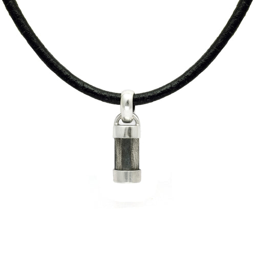 Easy to wear jewellery for men. Solid silver & leather pillar pendant on thick leather thong