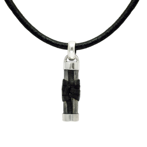 Inai longer silver pillar style pendant with leather detail on leather thong IN43L