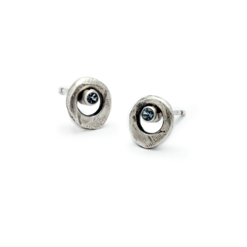 dark textured solid silver circle diamond studs by Annika Rutlin