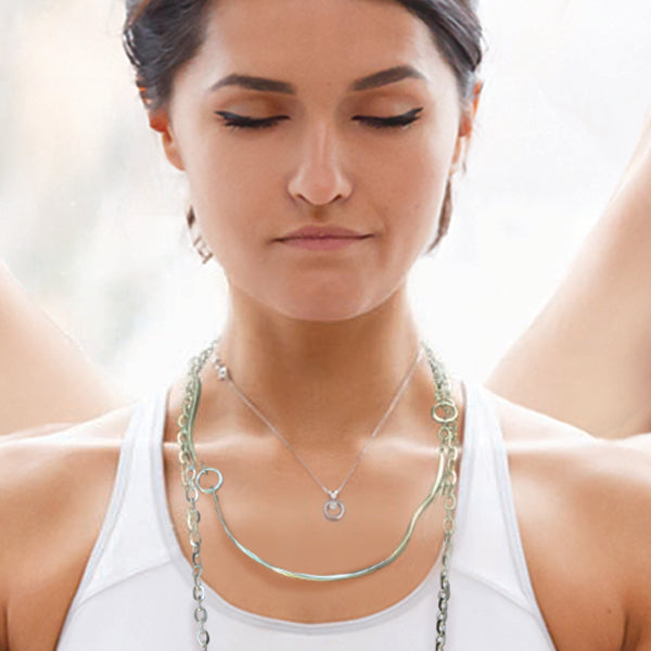 Solid silver Annika Rutlin Calm necklace on model from Goddess Tara