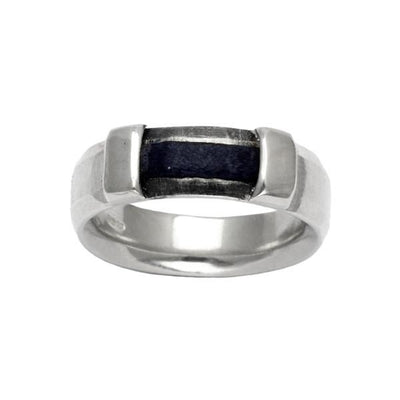 Solid silver textured mixed media leather ring rugged