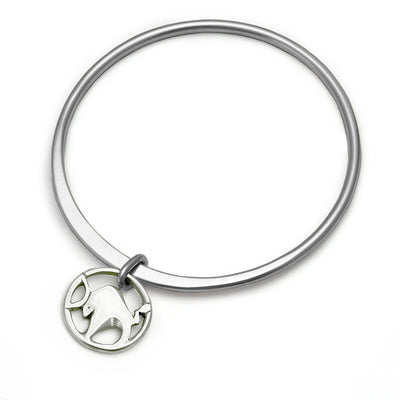 Year of the metal ox or Taurus solid silver bangle by Annika Rutlin