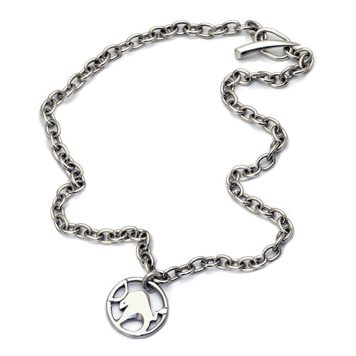 solid silver talisman ox Taurus chain necklace by designer jeweller Annika Rutlin
