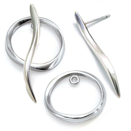 long wave silver stud with circle jacket earring by Annika Rutlin