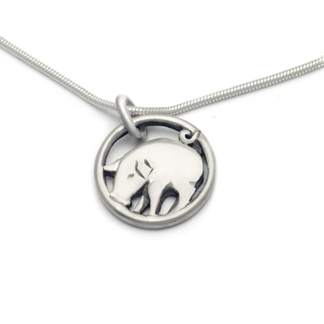 solid slver lucky charm year of the pig designer jewellery pendant