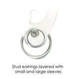 multi stacked composable silver and white sapphire designer stud earrings