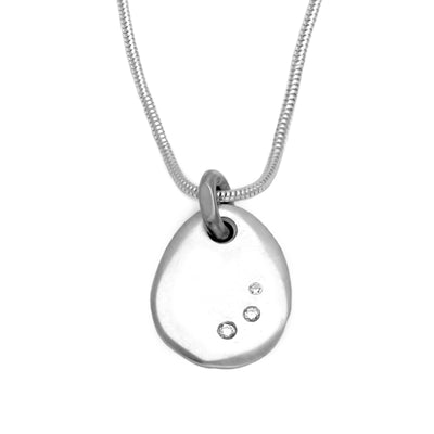 Cairn triple diamond set large pebble pendant on snake chain CAS48