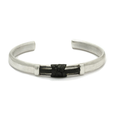 textured solid silver mens cuff bangle with leather detail