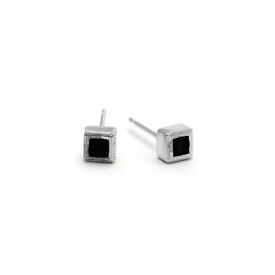 Leather & silver square silver stud earrings Annika Rutlin
