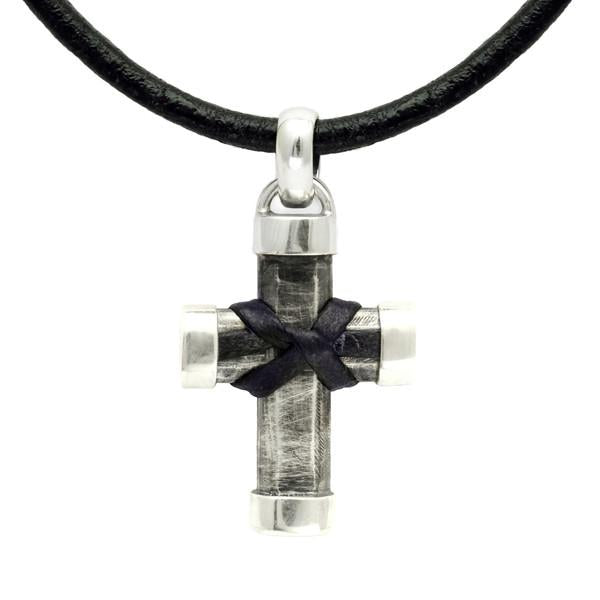 Heavy silver oxidised cross with leather ossell knot