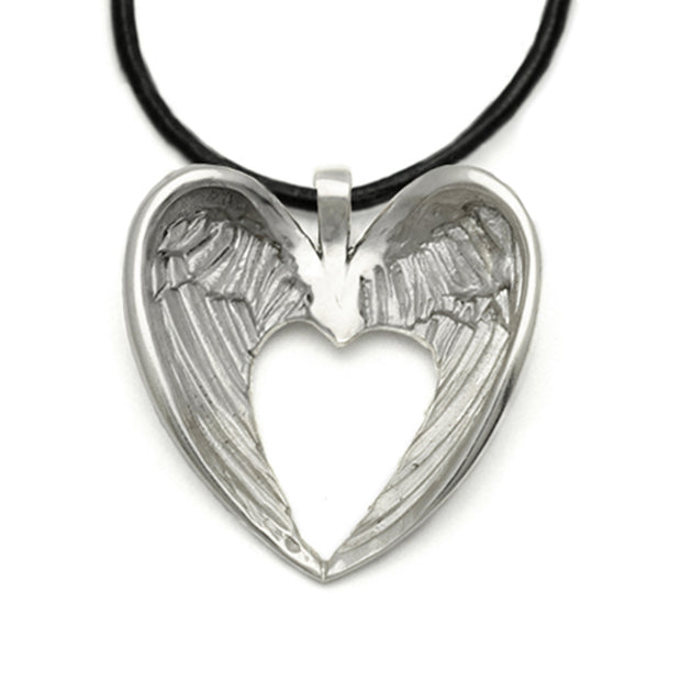 Halo large winged pendant on leather HALO31L
