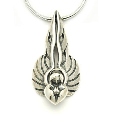 solid silver large flaming winged praying angel pendant