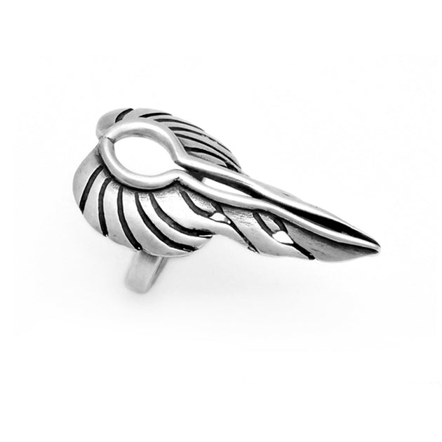 big bold fiery biker style angel wings ring sterling silver Annika Rutlin