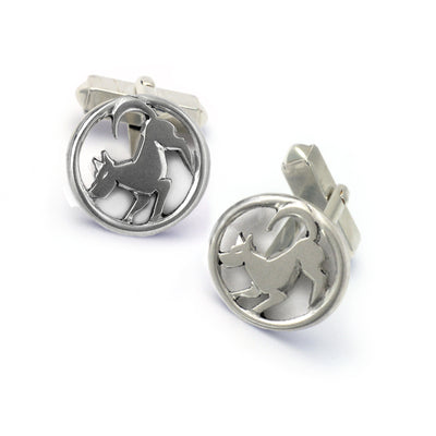 modern pouncing dog solid sterling silver designer cufflinks by Annika Rutlin