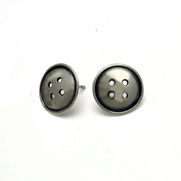 Button stud BTE20 silver earring
