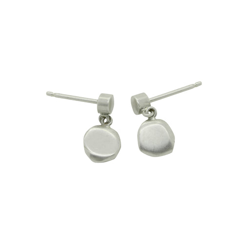 Cairn collection solid silver drop stud pebble earrings by Annika Rutlin