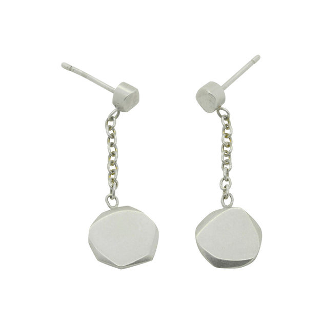solid silver pebble like chain and stud drop dangly earring by Annika Rutlin