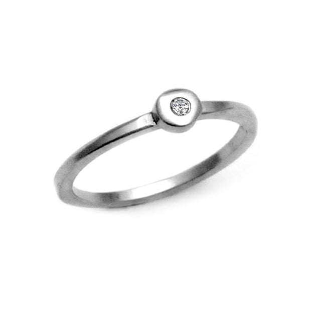 Cairn silver diamond collection solitaire ring by jewellery designer Annika Rutlin