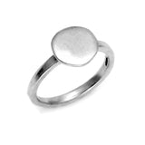 10mm flat pebble detail solid silver stacking ring by jewelry designer Annika Rutlin