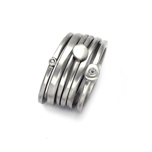set of 6 silver designer stacking rings plain & daimand set