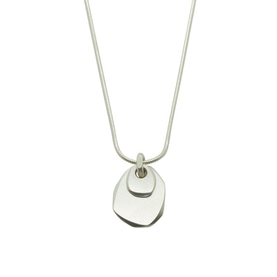 solid silver doble pebble pendant, suitable for engraving, by designer jeweller Annika Rutlin