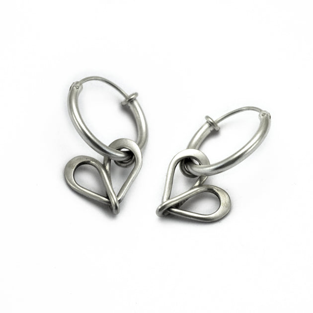 Infinity symbol inspired sterling silver heart earrings on hoops