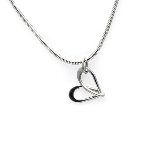 Dainty silver wire infinity loop heart pendant in sterling silver by Annika Rutlin