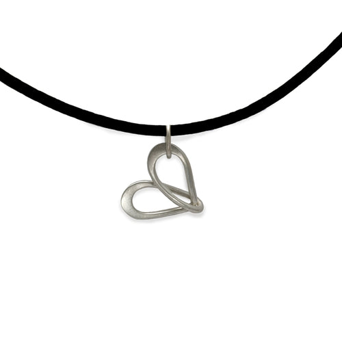 sentimental heart jewellery silver wire pendant inspired by the infinity symbol