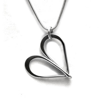 large wire infinity loop silver heart on snake chain by Annika Rutlin