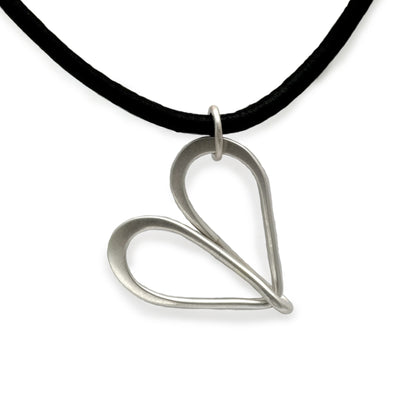 30mm large silver infinity loop wire pendant on leather by Annika Rutlin