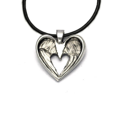 Halo small winged pendant on leather HALO71L