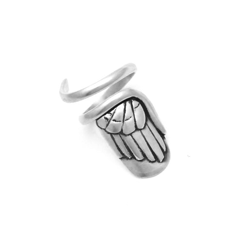 angel wing solid sterling silver designer nail ring by Annika Rutlin