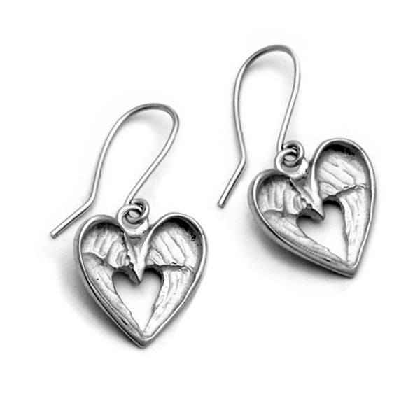 hearts and angels wings hookwire earrings in solid silver by designer Annika Rutlin