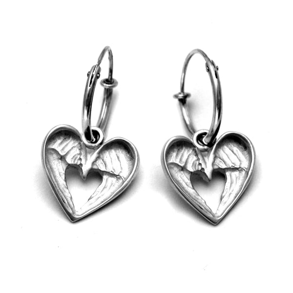 Lucky angel wings dangly hoop earrings in sterling silver by Annika Rutlin