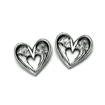 gorgeously romantic silver angel wing stud earrings featuring a heart silhouette by designer Annika Rutlin