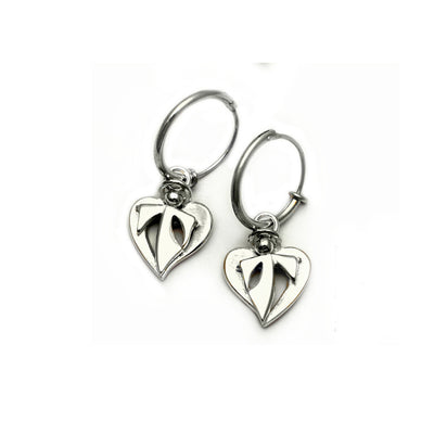 serene in silver small hanging angels on sleeper hoop earrings