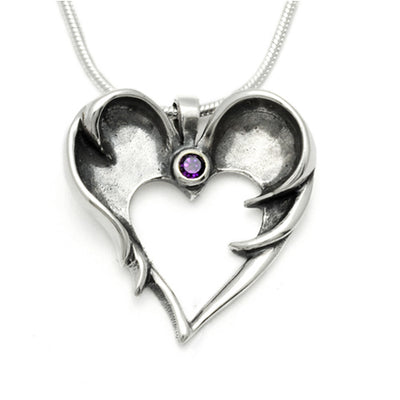 brilliant cut amethyst stone set dark angel wings sentimental silver pendant