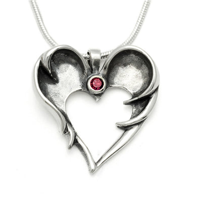 Sterling silver designer dark angel wings pendant set with garnet stone