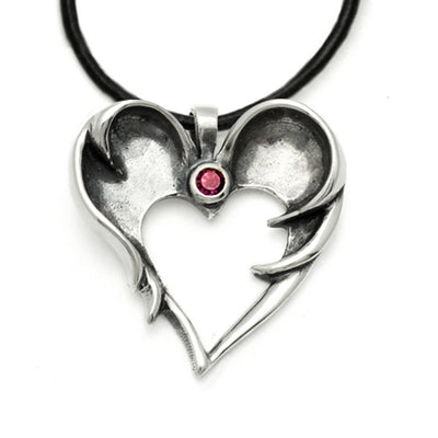 gothic dark angel garnet set heart silhouette winged pendant